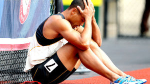 EUGENE, OR - JUNE 23: Bryan Clay reacts after getting disqualified in the men's decathlon 110 meter hurdles during Day Two of the 2012 U.S. Olympic Track & Field Team Trials at Hayward Field on June 23, 2012 in Eugene, Oregon. (Photo by Andy Lyons/Getty Images)